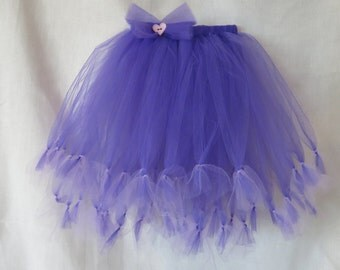 Purple and Lavender Ruffle Layered Tutu Skirt / Girls Tiered Tulle Skirt with Bow / Heart Button Tutu Skirt