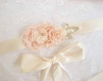 Bridal Sash Wedding Sash Wedding Belt Blush Sash Bridesmaid Satin Sash Blush Flowers Flower Girl Bridesmaids Wedding Sash Bridal Sash