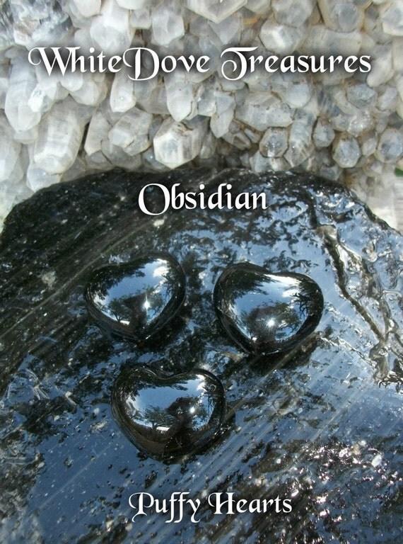 OBSIDIAN HEART Gemstone - Lg Black Void Mystery Vision Meditation - Volcanic Energy Absorb Negativity - Crystal Chakra Heal Reiki - Sea Salt