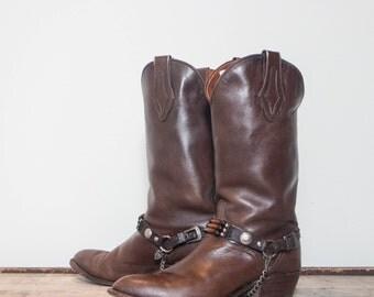 9.5 D   Men's El Dorado Brown Western Boots w/ Southwestern Style Harness