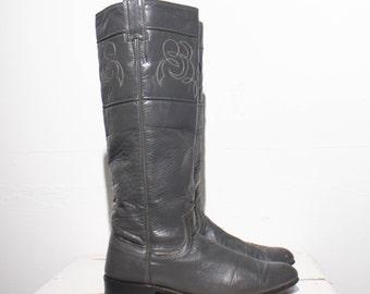 6 B | Women's Tall Gray Justin Riding Boots