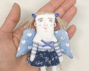 Miniature Sailor Girl Angel Toy. Maritime Soft Toy. OOAK Nautical Doll. Textile Art Toy. Maritime Souvenir. Collection Angel toy.
