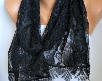 Black Lace Scarf Shawl,Bridal Scarf,Wedding Scarf,Cowl Gift Ideas For Her Women Fashion Accessories Bridesmaid Gift,Women Scarves