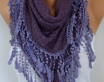 Purple Knitted Scarf Fall Shawl Cowl Lace Oversize Bridesmaid Bridal Accessories Gift Ideas For Her Women Fashion Accessories,Christmas Gift