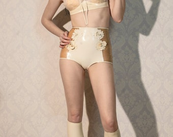High-waisted latex briefs with 3-D flower applique