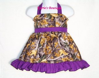 CAMO Halter Dress / Realtree AT + Purple / Beautiful / Flower Girl / Wedding / Infant / Baby / Girl / Toddler / Custom Boutique Clothing