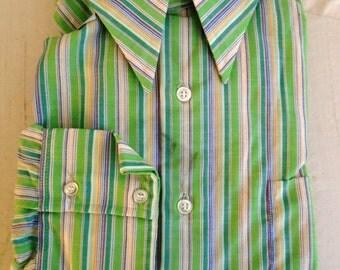 Vintage Man's Shirt 1970's Man's Deadstock Shirt Colored Stripes Mod Disco Green XL
