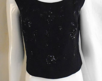 Vintage 1960's Tank Top Beaded Shell Top Black Sequins Never Worn  38 Bust