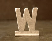 """Vintage Metal Sign Letter """"W"""" with Base, 1-13/16 inches tall (c.1950s) - Industrial Decor, Art Supply, Typography"""