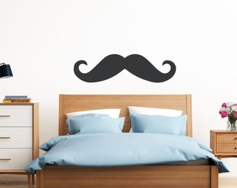 Mustache Wall Decal | Wall Sticker Mustache | Mustache Party, Mustache Laptop Skin, Single Stache | FREE SHIPPING