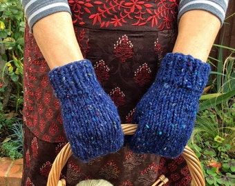 Wool Mittens, Blue Mittens, Knit Winter Gloves, Women's Gloves