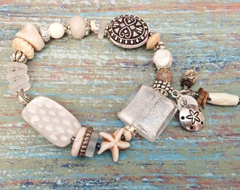 Starfish Bracelet, Ocean Jewelry, Stacking Bracelet, Sea Glass Bracelet, Beach Bracelet, Gifts for Her, Beach Jewelry, Boho Beaded Bracelet