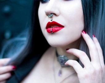 Gothic Headdress with Black Onyx Stone and Teardrops - Gothic Jewelry