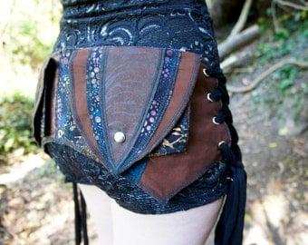 RESERVED FOR CUSTOMER - Utility Belt Brown Blue S/M patchwork festival belt burning man ooak