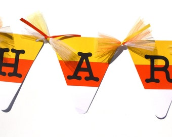 Candy Corn Name Banner Halloween Banner - Halloween Birthday Decoration - Halloween Birthday Party Decoration Matches Happy Birthday Banner