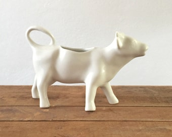 French Farmhouse Cow Creamer / Vintage Cow Creamer / White Glaze / Minimalist / Cream Pitcher / Farm Theme