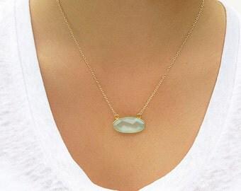 Aqua Chalcedony Oval Bar Necklace - Bar Necklace - Gold Necklace - Gemstone Necklace - Pendant NEcklace