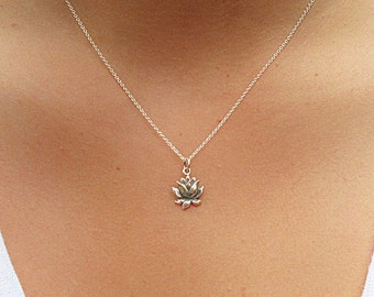 Blooming Lotus Charm Necklace - Lotus Necklace
