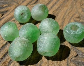 Green Ghana African Trade glass krobo hand made  bead