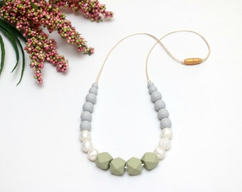 Glacier and Pearl Silicone Teething Necklace | Nursing Necklace | Breastfeeding Necklace | Teething Necklace for Mom | Chewelry Chew Beads