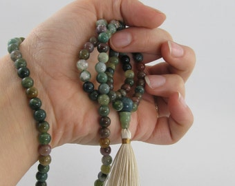 Mala necklace - 6mm fancy jasper 108 beads mala - tassel necklace - yoga jewelry - meditation