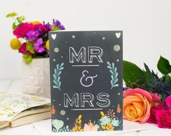 Mr & Mrs Card - Wedding Card - Chalkboard Card - Card For Wedding - Fairy tale Wedding Card - Congratulations Card - Wedding Day
