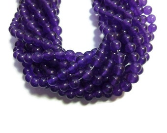Purple Grape Jade - 6mm Round Bead - Full Strand - 65 beads - Violet