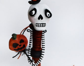 Halloween Skelly - Halloween Decor - Halloween Art Doll - Skeleton Art Doll