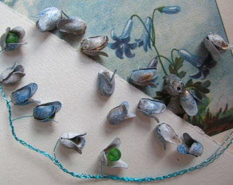 20  Vintage Painted Bluebell Metal Flowers