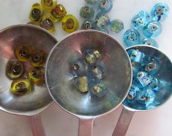 Vintage Foil  Glass  Beads