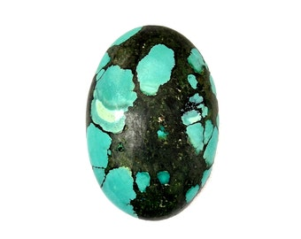 Turquoise Cabochon Stone (29mm x 20mm x 8mm) 30.5cts - Oval Cabochon - Tibetan Turquoise - Blue Turquoise