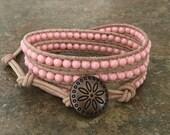 Wrap bracelet, Swarovski pearls, natural leather, beige leather, coral,  casual, boho