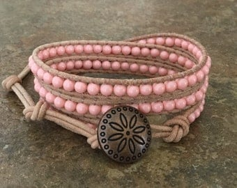Coral Pearl Leather Wrap Bracelet, Triple Wrap, Natural Leather, Boho Jewelry, Casual