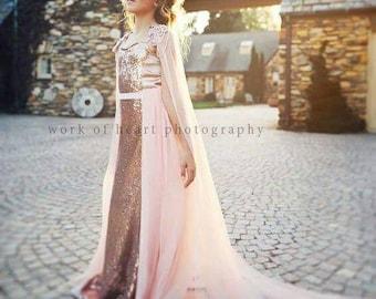 Pink gown with long cape, Elsa Dress, Pink Frozen Dress
