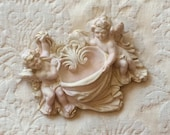 Cherub Wall Pocket - Shabby Chic Wall Decor' in Distressed Pink & Dirty Gilted