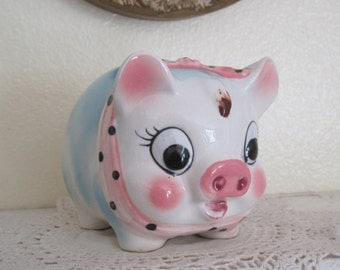Adorable Vintage Westpac Hand Painted Blue & Pink Bow - She Piggy Bank - Japan Circa 80s