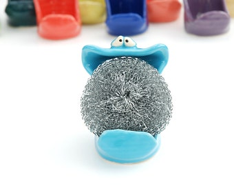 SpongeMonster - Turquoise Blue - GREAT for holding your sponge or soap on the sink in your kitchen