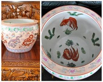 Antique Chinese Porcelain Fishbowl with flag of Qing Dynasty Enamel Blue White Cachepot Planter Floor Vase Indoor Pot Asian Art Vessel