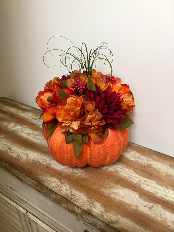 Pumpkin Centerpiece Thanksgiving Fall Floral Table Centerpiece