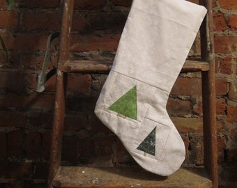 SALE - Minimal Tree Christmas Stocking - ooak