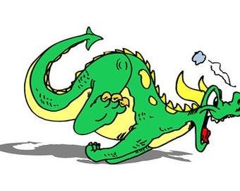 Green Running Dragon Image, Baby Boy Nursery Art Decor, Dragon Printable Art,  Instant Download, Kids Nursery Room Decor, Green Dragon Art