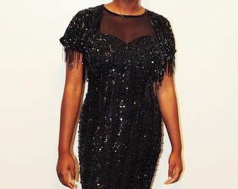 80s Lime Nite Silk Beaded Sequin Disco Dress/Minidress