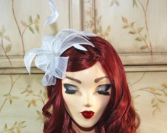 White Wedding Fascinator Headband, Tea Party Hat - White Bridal Fascinator
