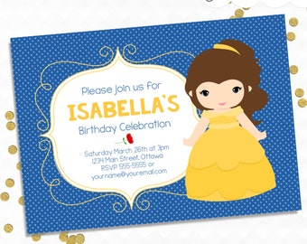 Personalized Printable Beauty and the Beast Invitation - Invite & Favor Tag or Printable Party Belle from Beauty and the Beast Disney Party