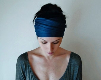 PEACOCK BLUE Head Scarf - Bohemian Hair Wrap - Dark Teal Headband - Jersey Activewear - Yoga Headband - Ecoshag Hair Accessories