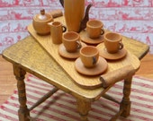 Vintage dollhouse wooden coffee service