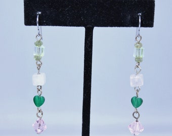 Multi Color Glass and Plastic Bead Long Dangle Earrings - Pierced