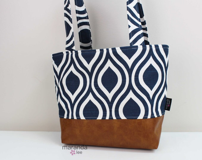 Lulu Medium Tote  Bag Navy Pod and PU Leather with Grey Lining Color- READY to SHIP Purse  3 pockets Handbag Washable
