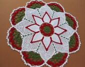 Christmas crochet doily, Holiday decor, Poinsettia doily, Table top decor, Round doily, Red, Green, White, Lace doily ,