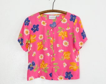 sale // bright floral top - S